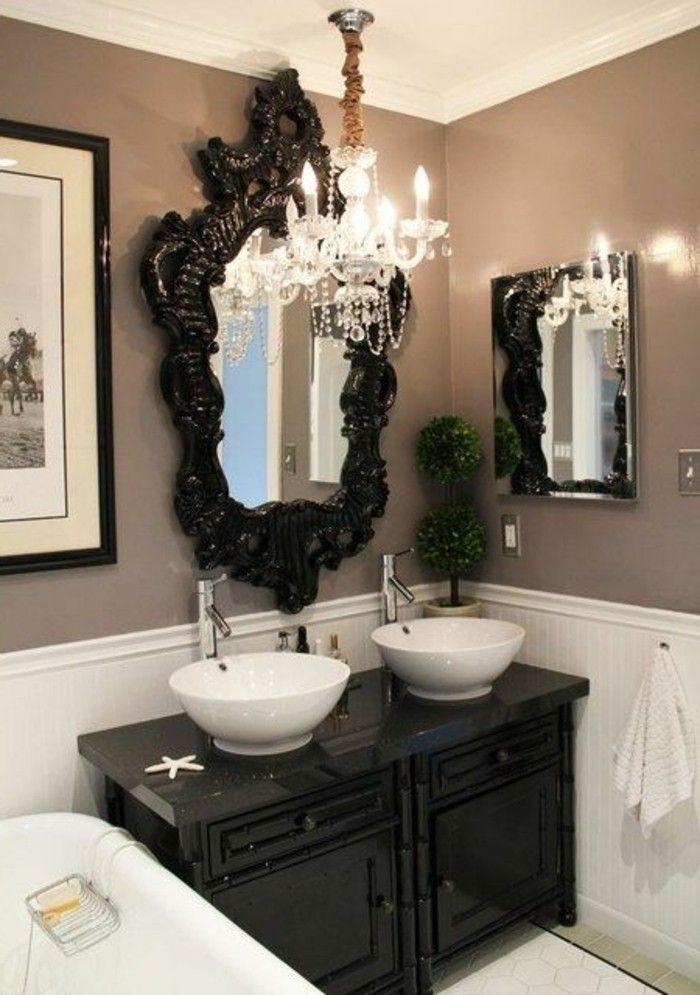 badezimmer deko moderne bader schwarzer schrank mit spiegel weise - kronleuchter für badezimmer