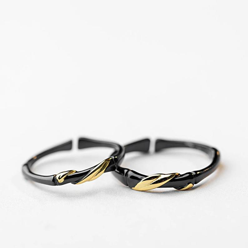Couple Rings Trendy Black Gold Bamboo Wedding Creative Design Etsy Couple Ring Design Couple Rings Unique Wedding Shoes