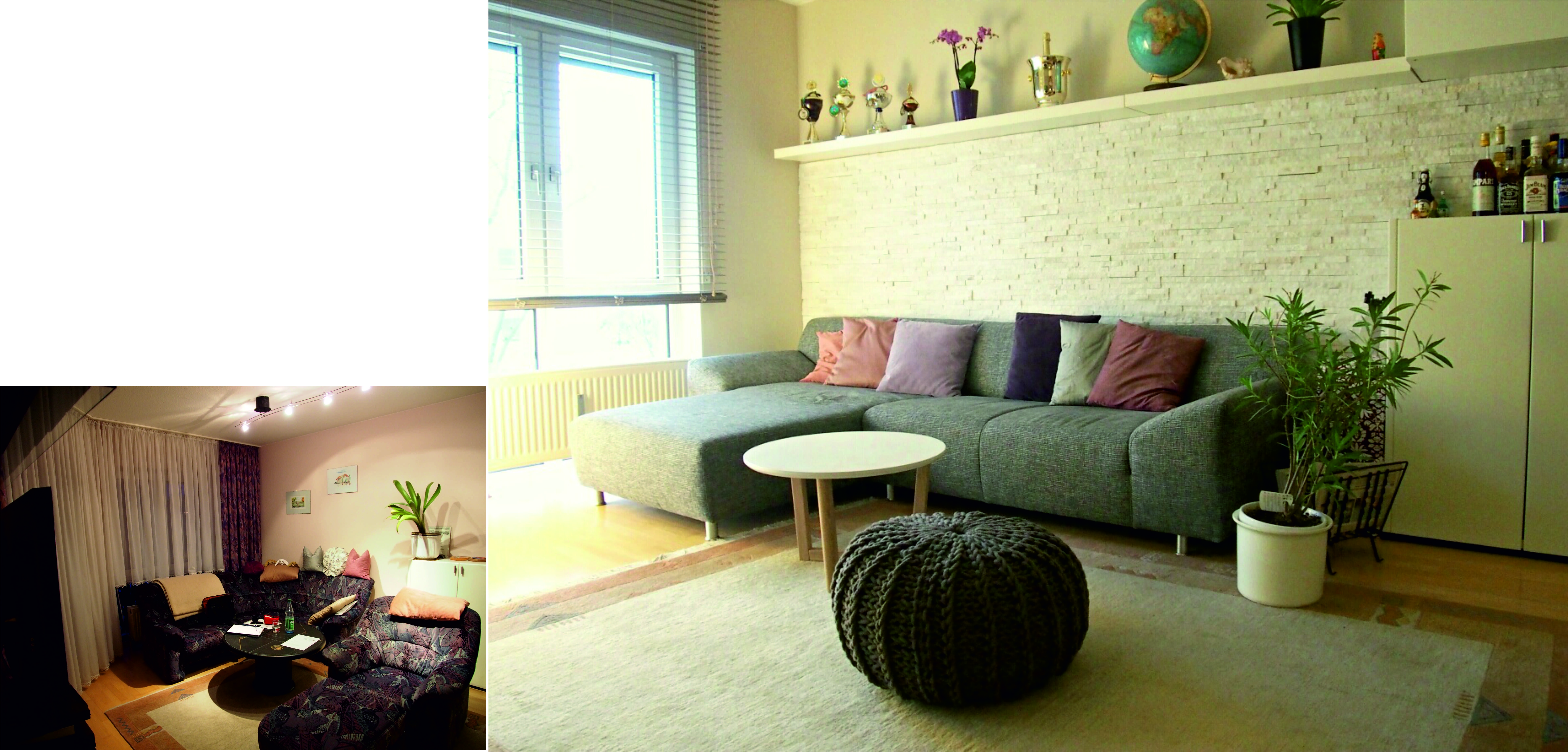 kleines wohnzimmer einrichten vorher nachher  Wohnzimmer