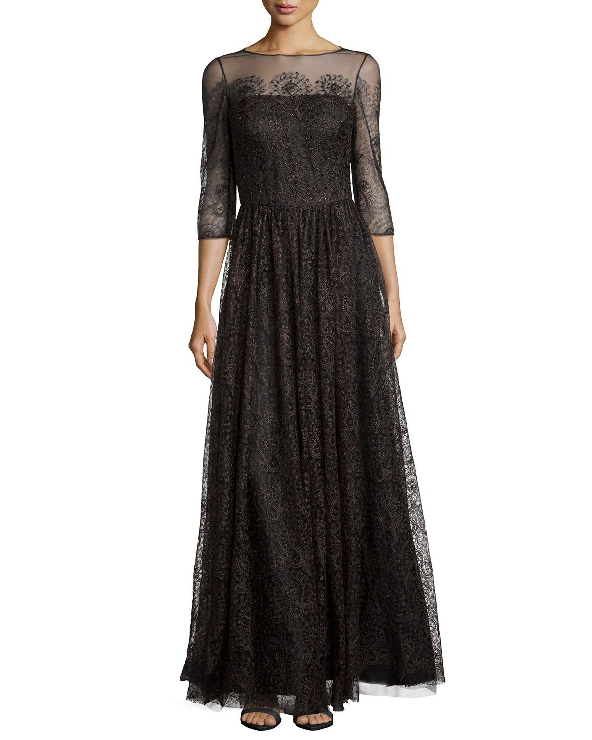 Sleeve lace tulle gown by kay unger new york at neiman marcus