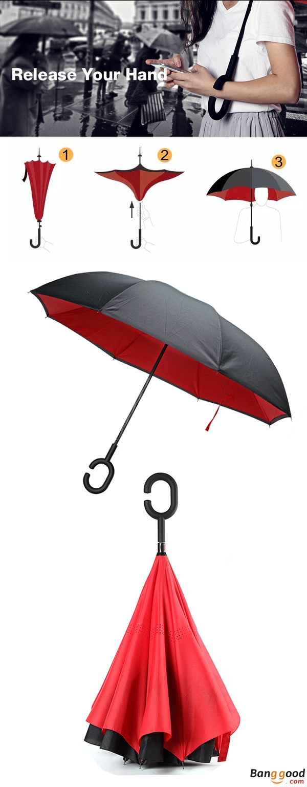 Double Layer Inverted Inverted Umbrella Is Light And Sturdy Cold Ice Tea Glass Top View Reverse Umbrella And Windproof Umbrella Edge Night Reflection