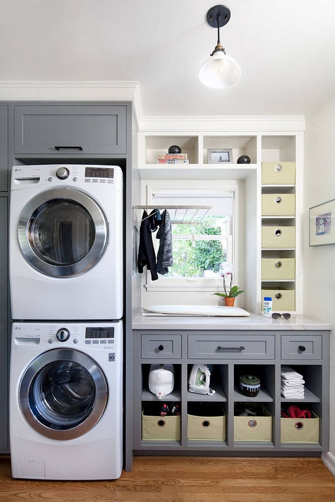 Stackable LG Washer And Dryer, Ikea Drying Rack, Cabinets Painted In  Cityscape   Sherwin Williams