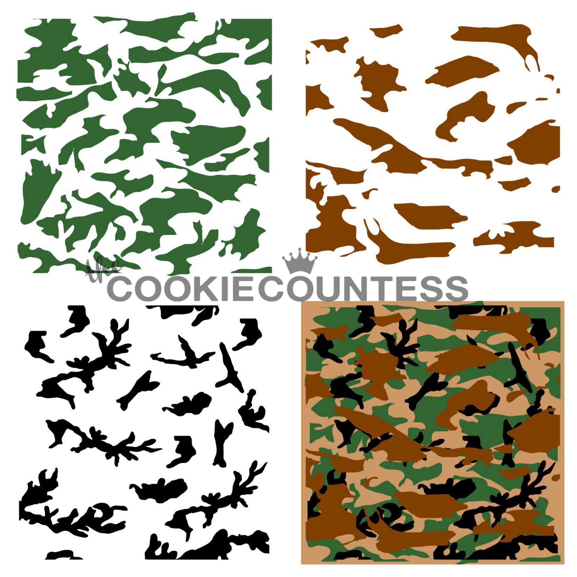 3 piece camouflage stencil cookie countess decorating supplies 3 piece camouflage stencil amipublicfo Choice Image