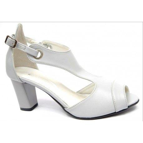 fdcfdcbb54e731 Damskie eleganckie sandały. Model o oryginalnej budowie. Pięta zakryta.  Zapięcie na pasek wokół
