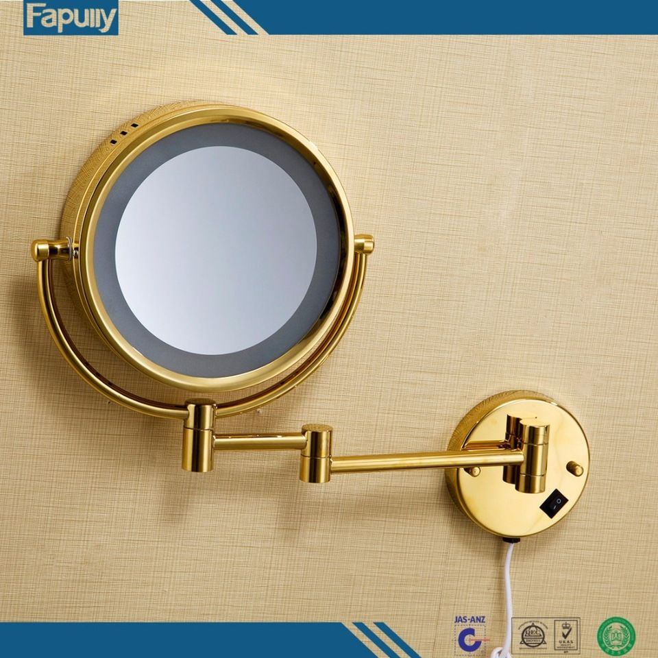 Fapully Luxury Decorative Wall Mirror Round Makeup Mirror Gold Led ...