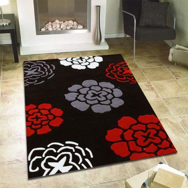 Modern Flower Design Rug Black Red