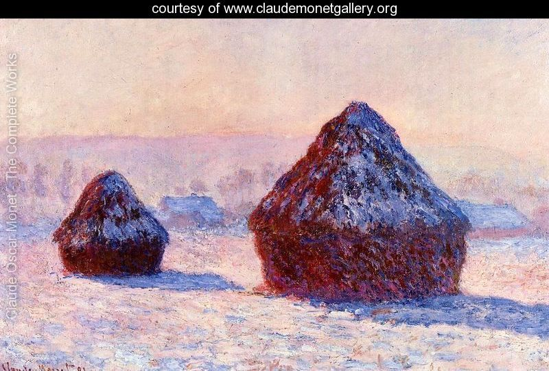 Grain stacks in the Morning, Snow Effect (Monet)