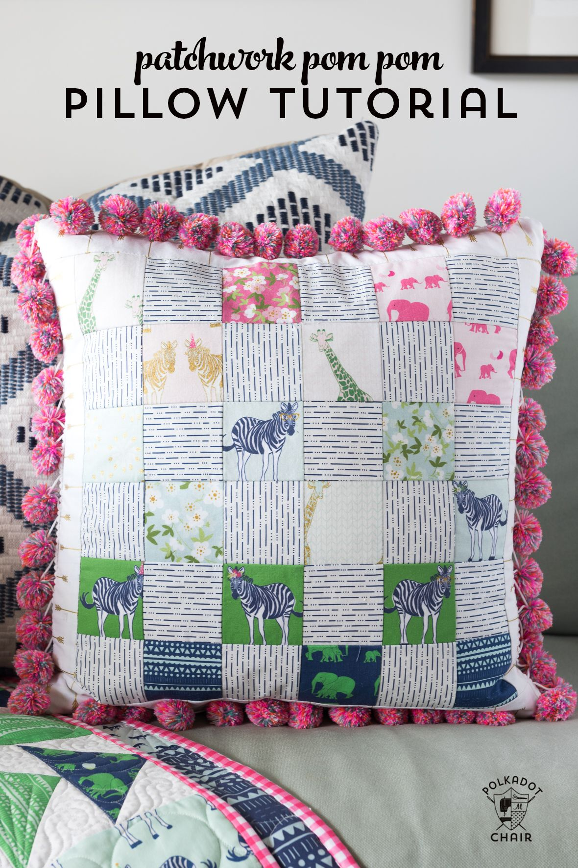 Pom Pom Patchwork Pillow Pattern | quilting
