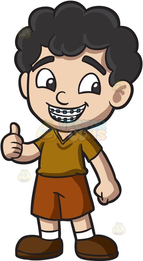 A Boy Approves His Braces Cartoon Stock Clip Art Vector Toons Black Curly Hair Brown Shirt Boys