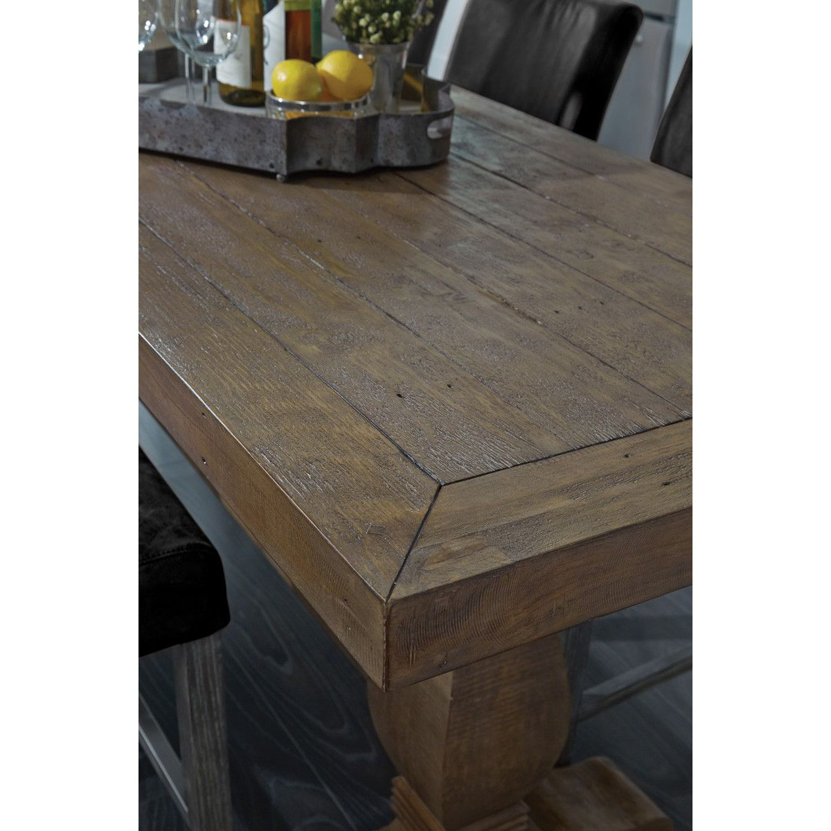Liam Rustic Brown Distressed Solid Pine Wood Rectangular Gathering Table Large In 2021 Gathering Table Dining Table Dining Table In Kitchen