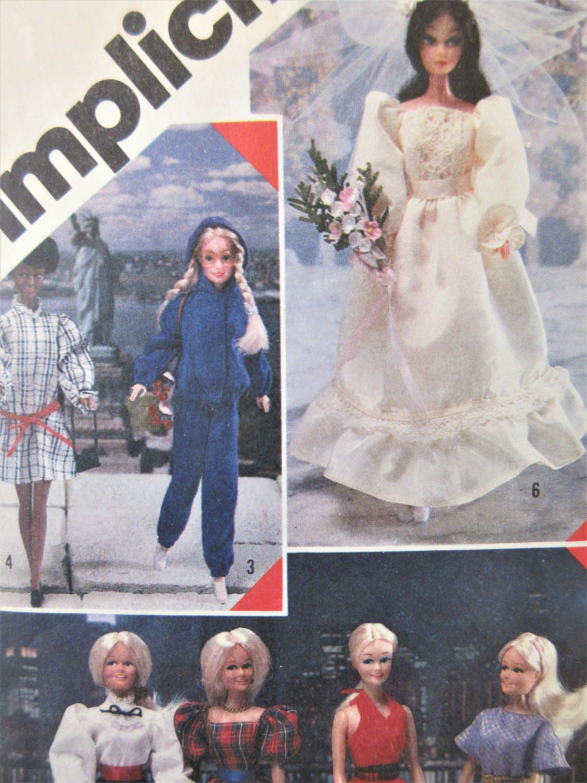 1970s Barbie Doll Clothing PATTERN Wedding Gown Veil  Cape /& Hood Wrap around Pantskirt Long Dress Top Panties Pinafore