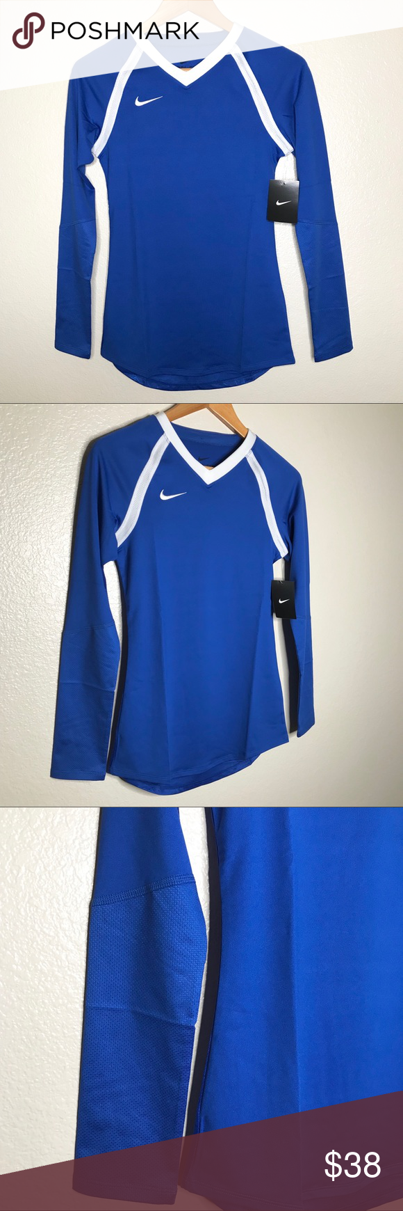 Nike Dri Fit Volleyball V Neck Embroidered Swoosh Active Wear Shirts Active Wear Tops Nike Dri Fit