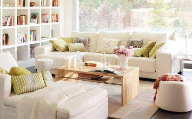 kleines wohnzimmer einrichten weiße sofas liege couchtisch Dizajn