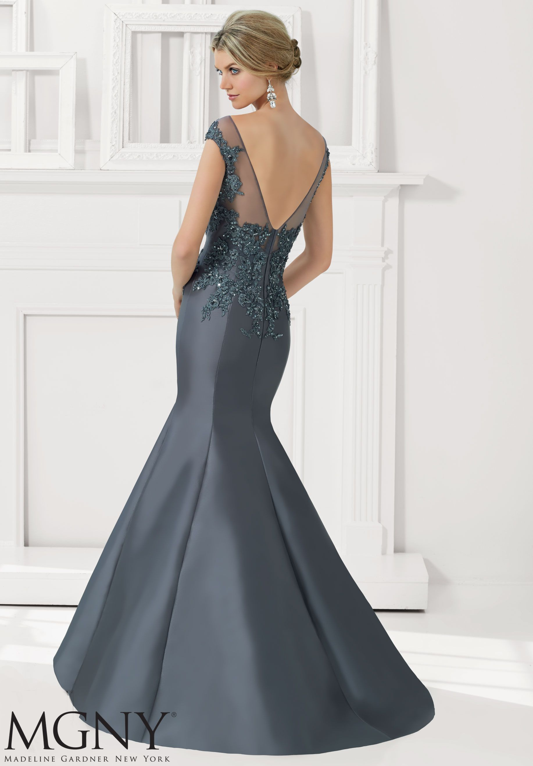 b7c5e840b6e3 Larissa Satin Evening Gown Mother of the Bride Dress with Beaded Lace  Appliques Designed by Madeline Gardner. Matching Stole.