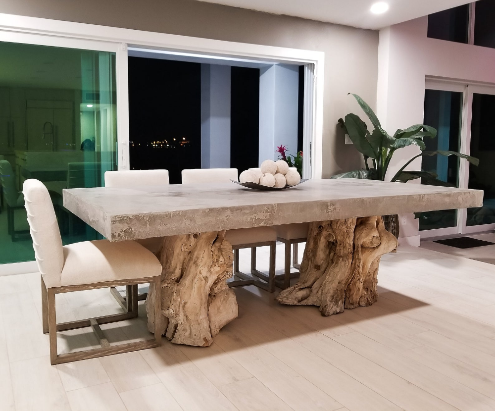 Concrete Dining Table With Real Wood Tree Stump Base Etsy