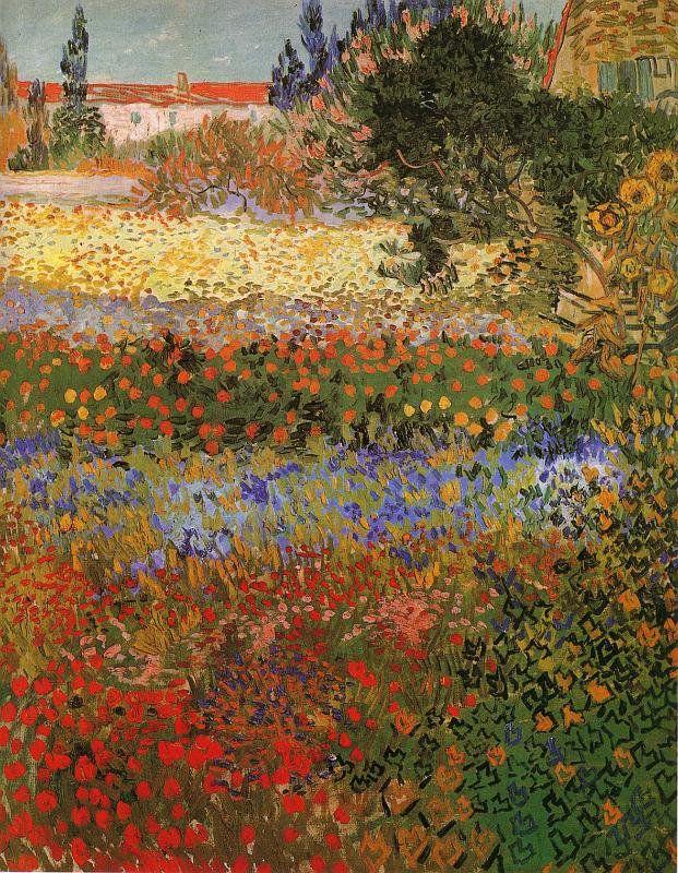 Image - Vincent Van Gogh : jardin fleuri à Arles (juillet 1888 ...