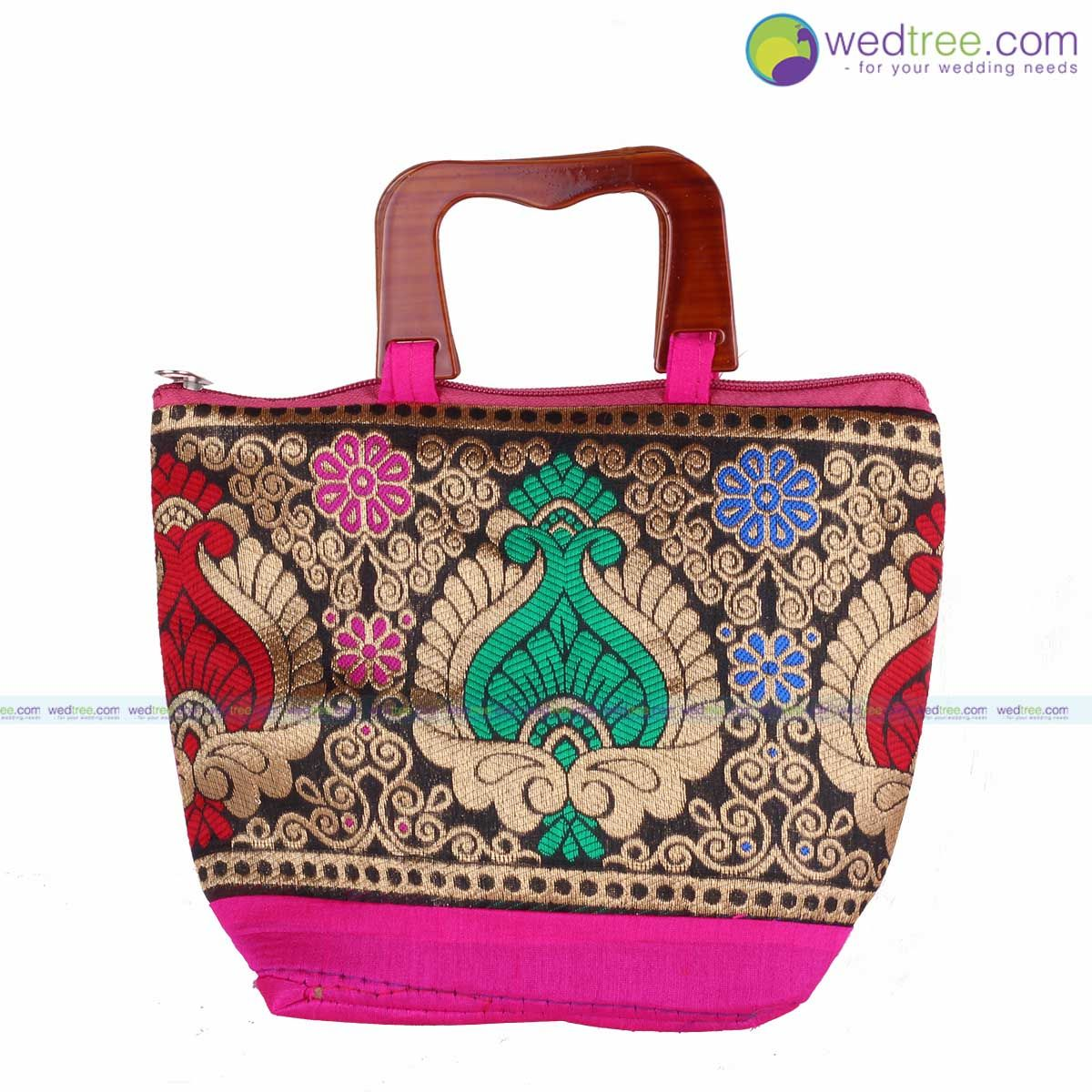 Hand Bag - Mixed Design with Wooden Handle