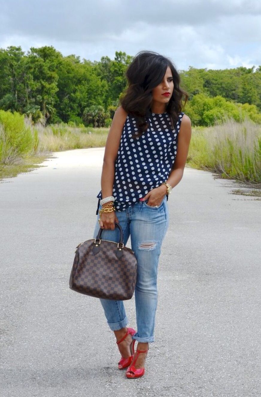Polka dots and red.