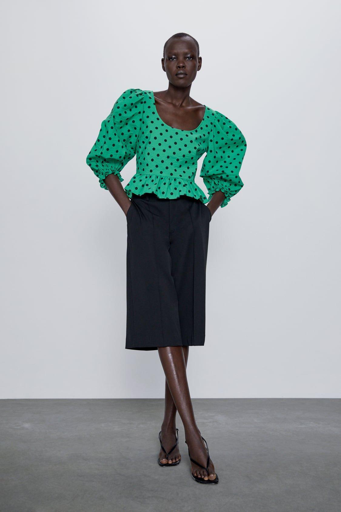 Blusa Estampado Lunares In 2020 Printed Blouse Polka Dot Print Stylish Shirts