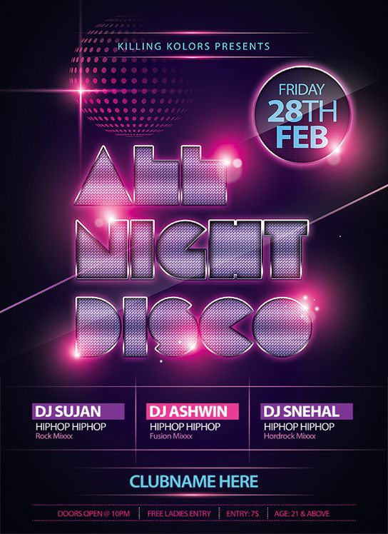 Disco Night Flyer | Soul Flight | Pinterest | Disco Night