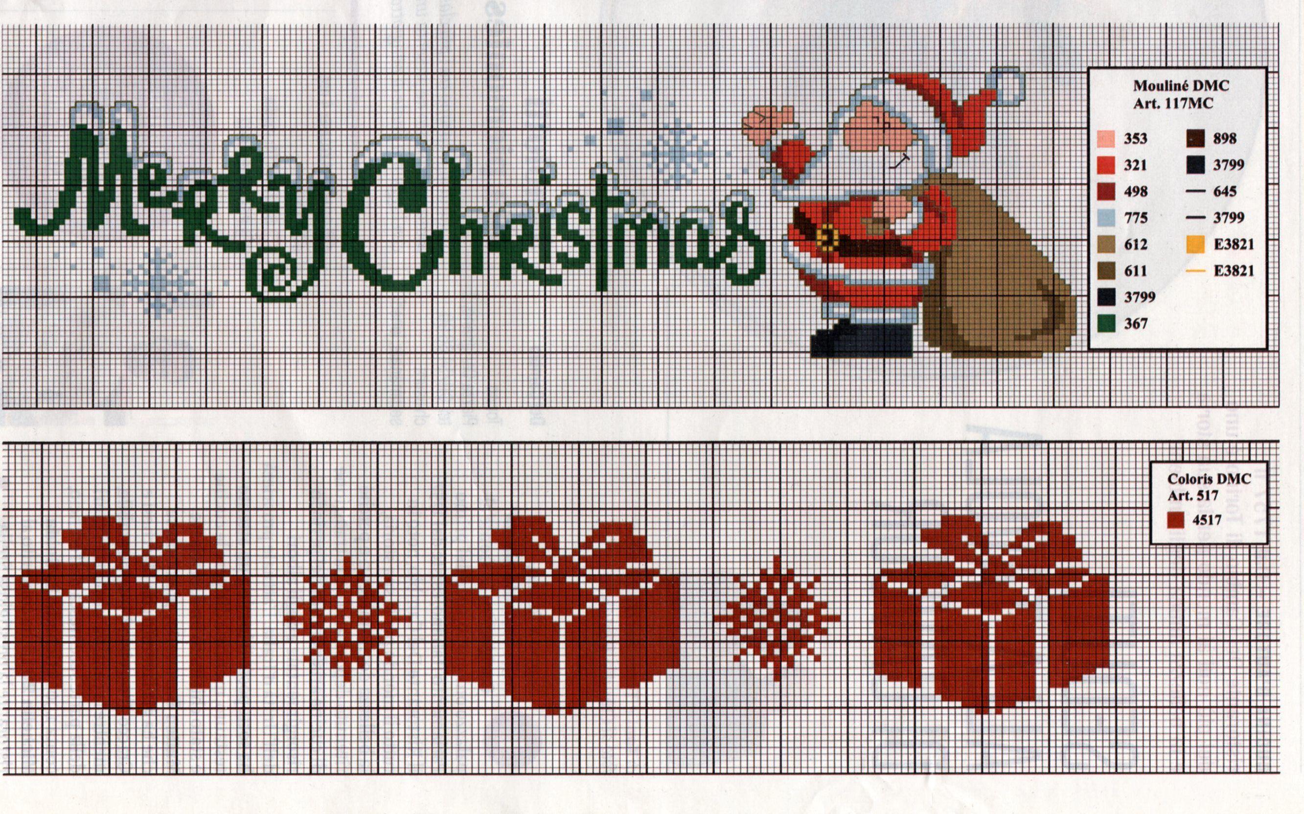 Canovacci Ricamati A Punto Croce.Bordo Per Strofinacci Natale Punto Croce Punto Croce