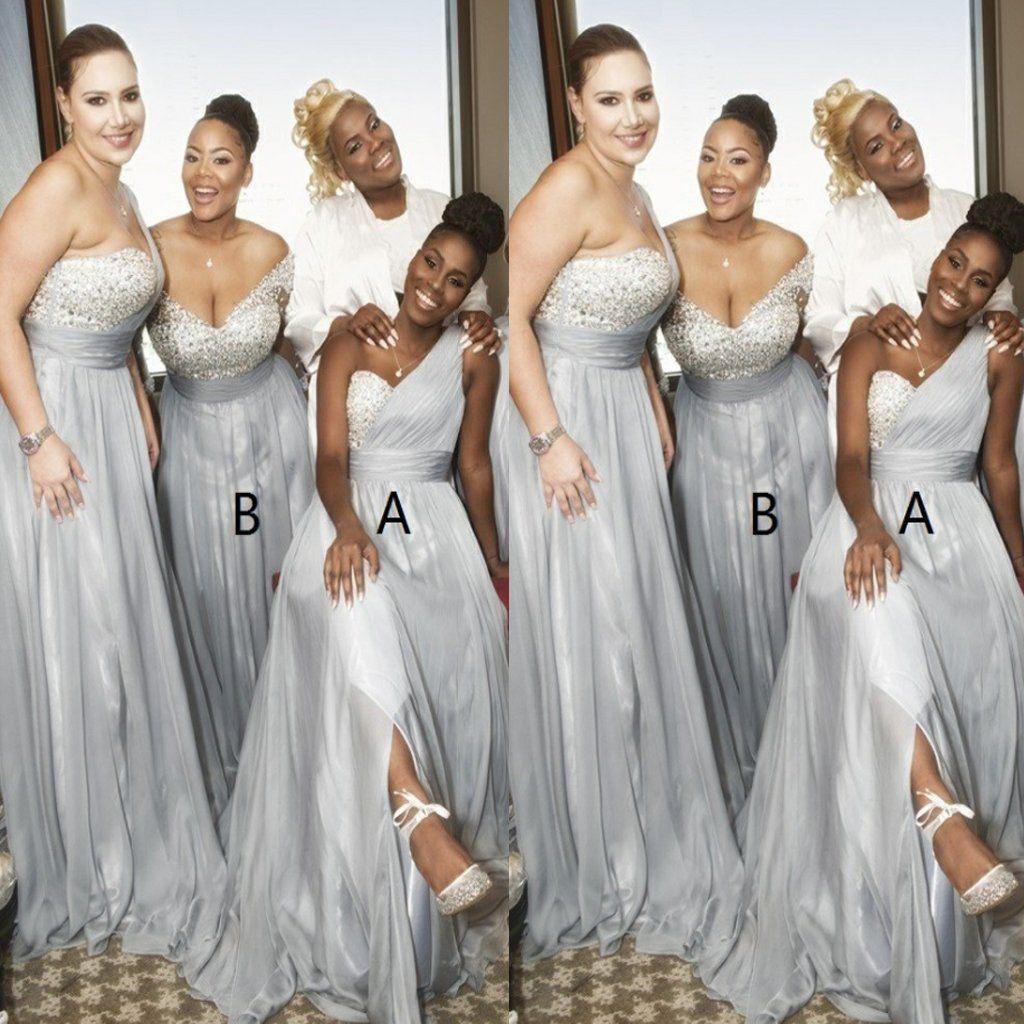 Gray dress for wedding party  ALine One Shoulder Grey Chiffon Sequins Split Bridesmaid Dresses
