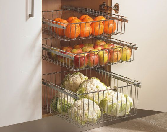 Chrome Pull Out Wire Baskets Kitchen Base Larder Units
