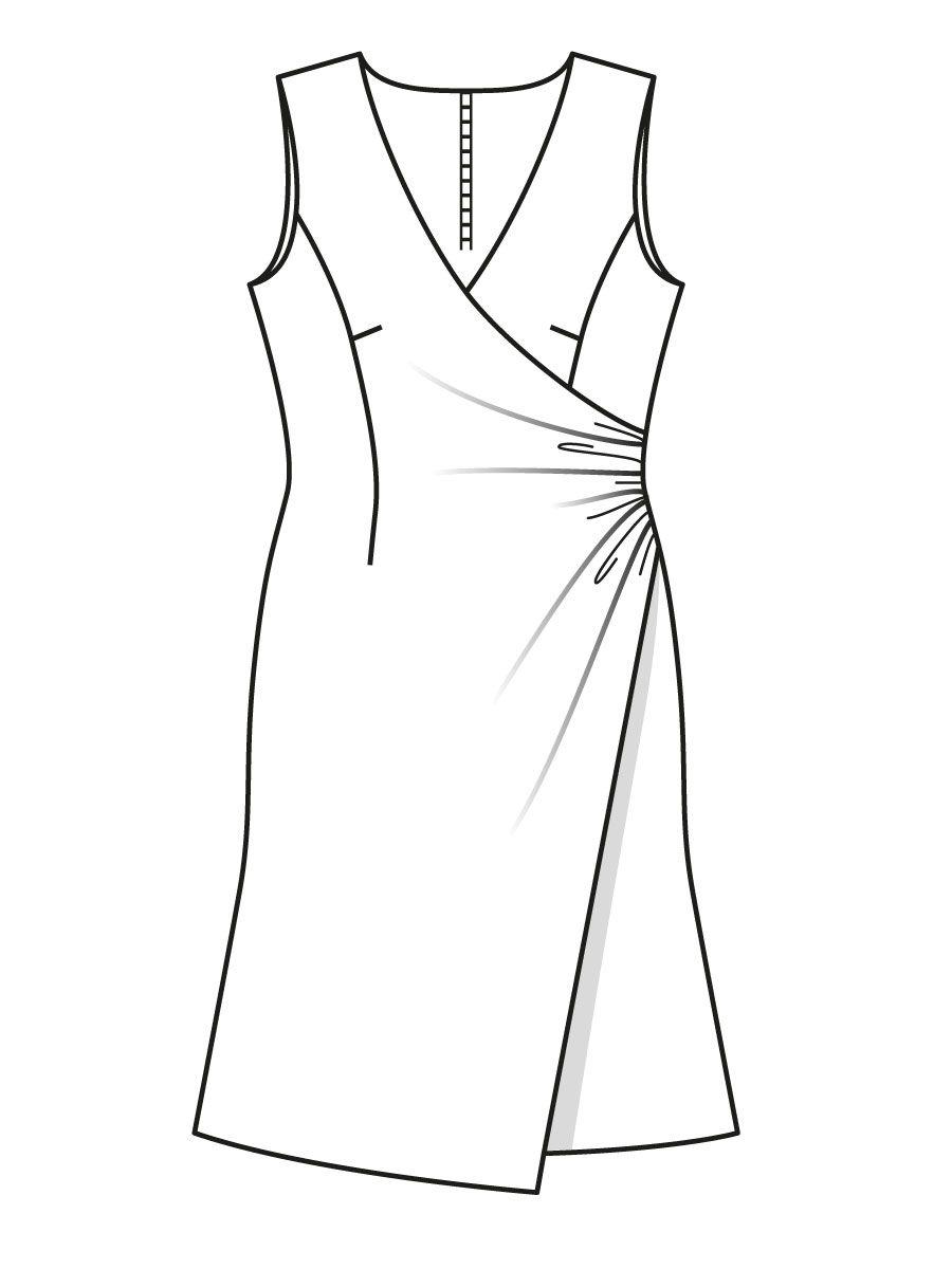 8a74793b282 Платье с эффектом запаха - выкройка № 106 из журнала 9 2015 Burda – выкройки  платьев на Burdastyle.ru