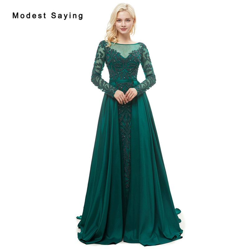 Find More Evening Dresses Information about Luxury Green Mermaid Beaded  Long Sleeve Evening Dresses 2018 with 58811f04bfad