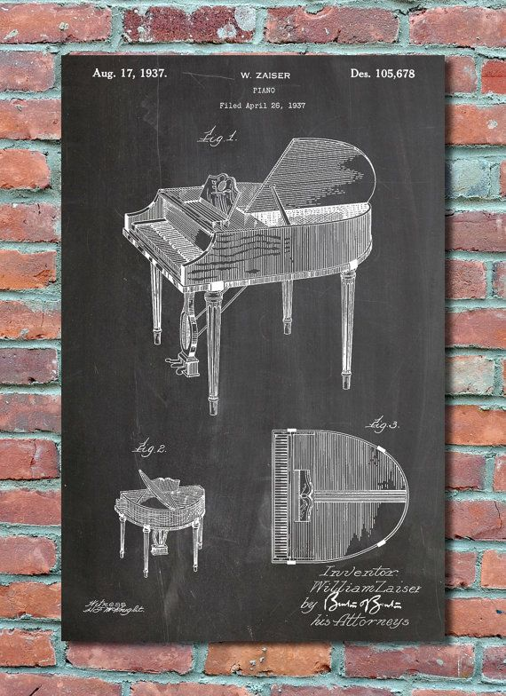 Blueprint Wall Art piano patent wall art print, piano patent art, piano patent poster