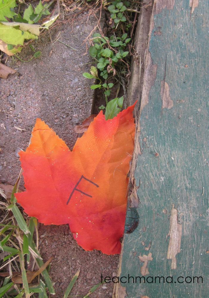 leafy, outdoor alphabet letter hunt Fall preschool