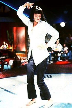 uma thurmans white shirt and black trousers in pulp fiction