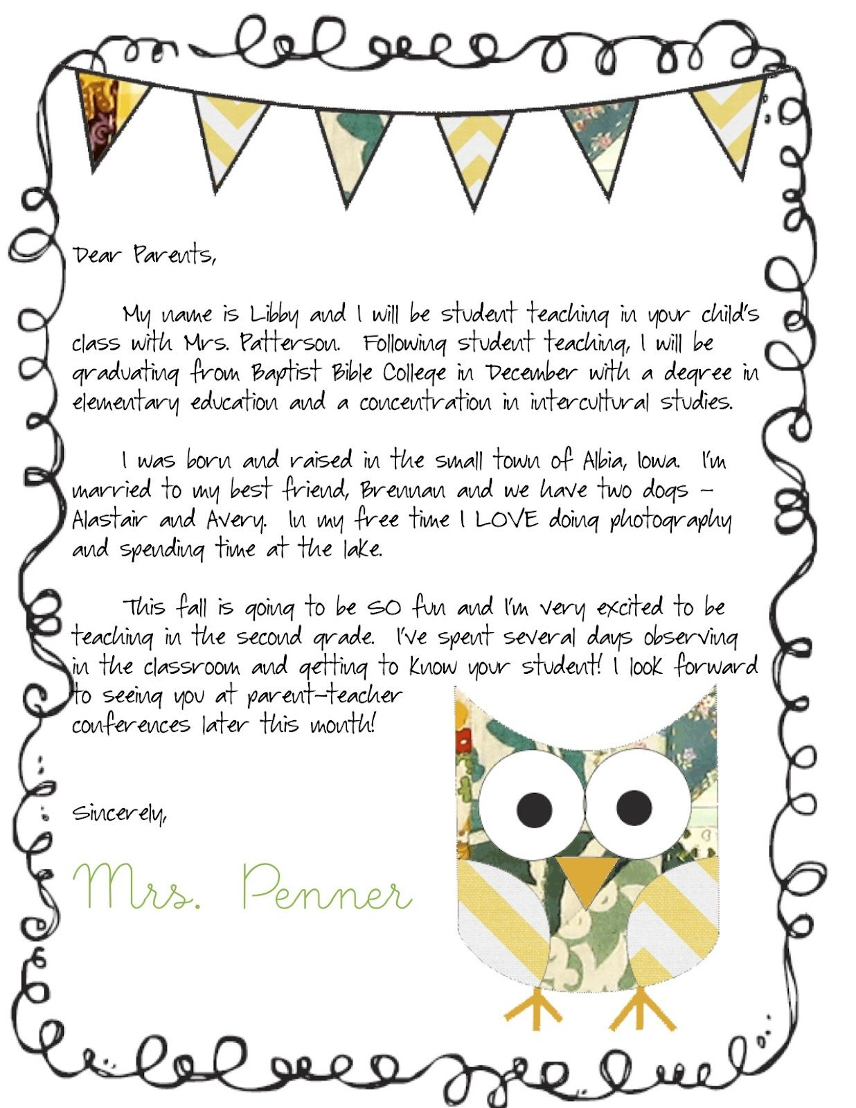 10 best Student Teacher Introduction Letter images on Pinterest