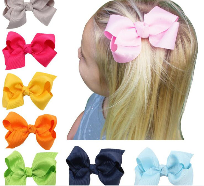 Lot 4 inches Girls Baby Hair Bows Hair Pin Clips Aligator Clip Grosgrain Ribbon