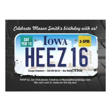 Boys 16th Birthday Iowa License Invitation