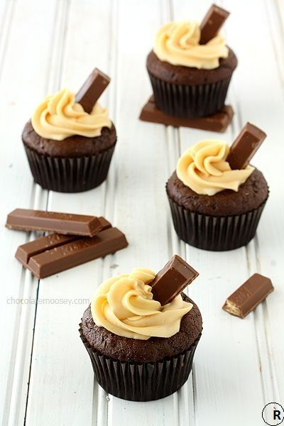 Kit Kat Cupcakes with Caramel Buttercream Frosting.
