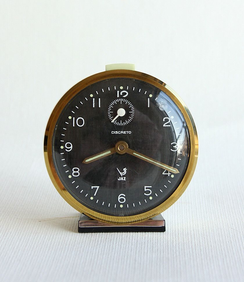 Vintage French Alarm Clock Jaz Discreto 60u0027s 70u0027s Retro Table Clock Wind Up Desk  Clock Collectible