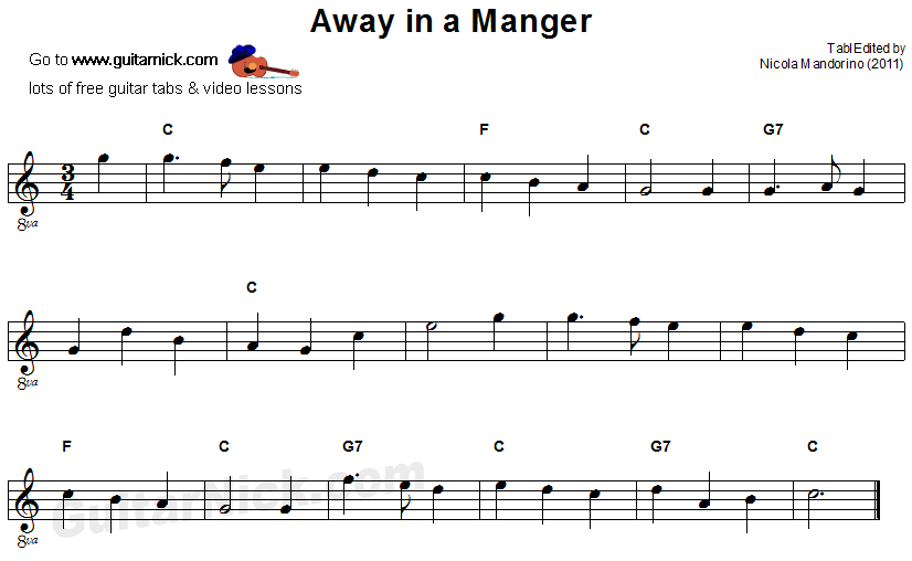 Guitar Songs For Beginners Away In A Manger Easy Guitar Tab