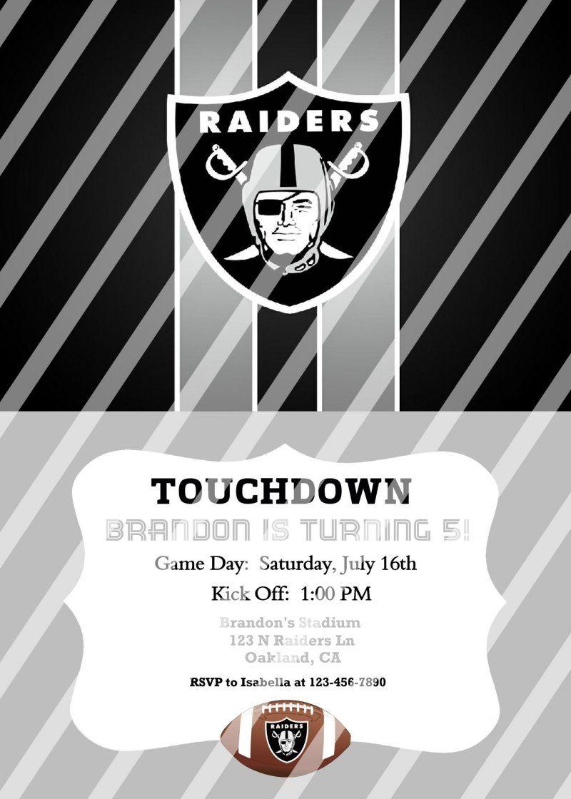 Oakland Raiders Personalized Party Invitation 44 Digital File You