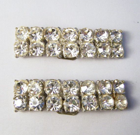 Vintage Rhinestone Shoe Clips Pot Metal Silver Tone 115DG