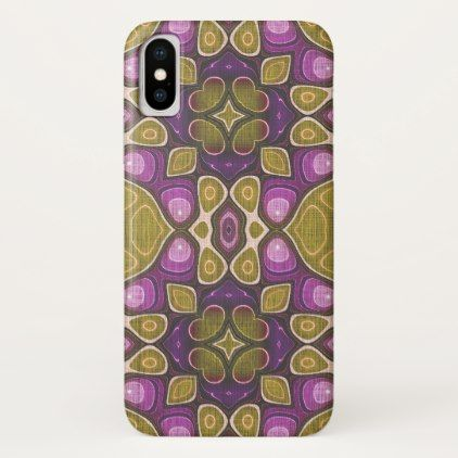Ochre Olive Green Pink Purple Nouveau Deco Pattern iPhone X Case - stylish gifts unique cool diy customize