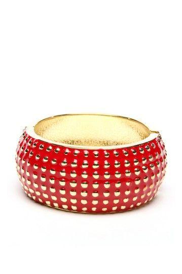 studded red enamel cuff