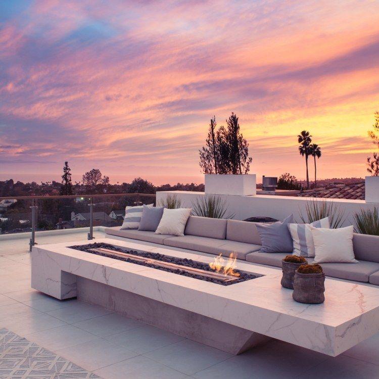Dachterrasse ♥ moderne Feuerstelle mit Gas-Einbausatz und Marmor ...