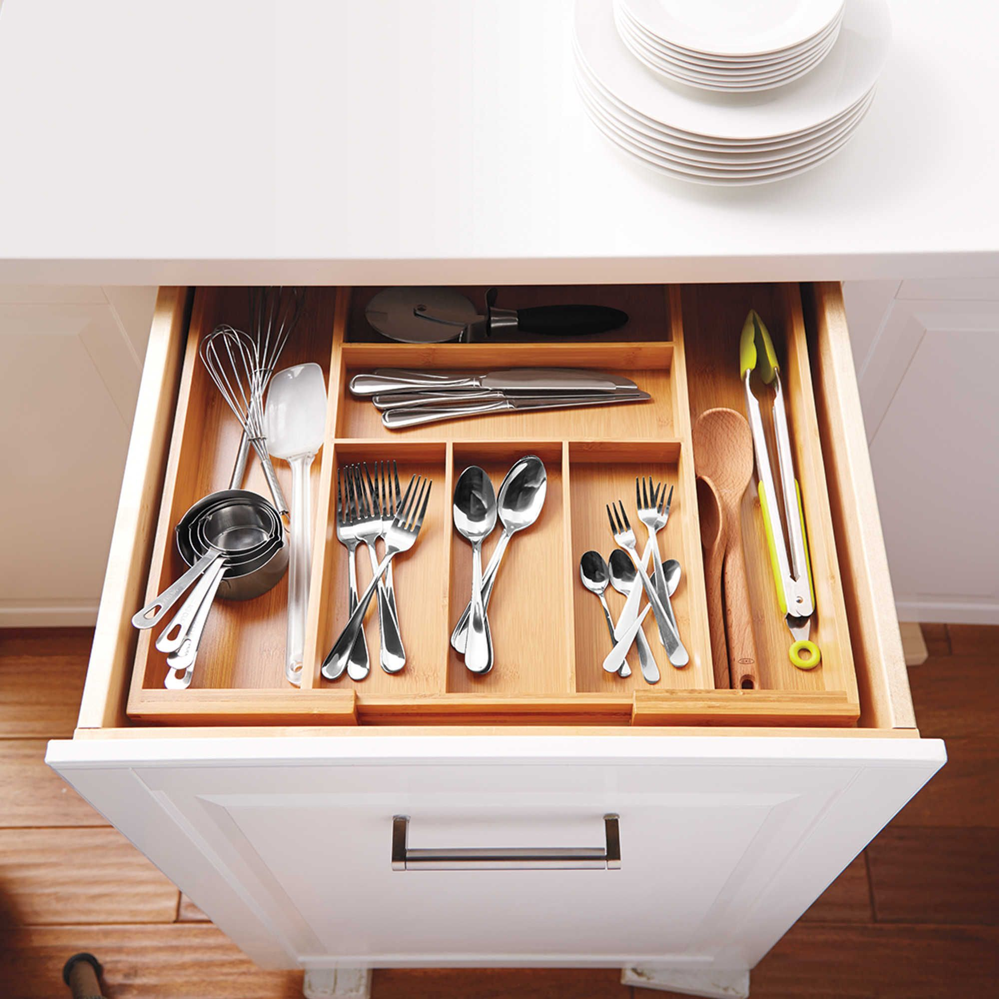 Bamboo Expandable Cutlery Tray With Images Silverware Storage