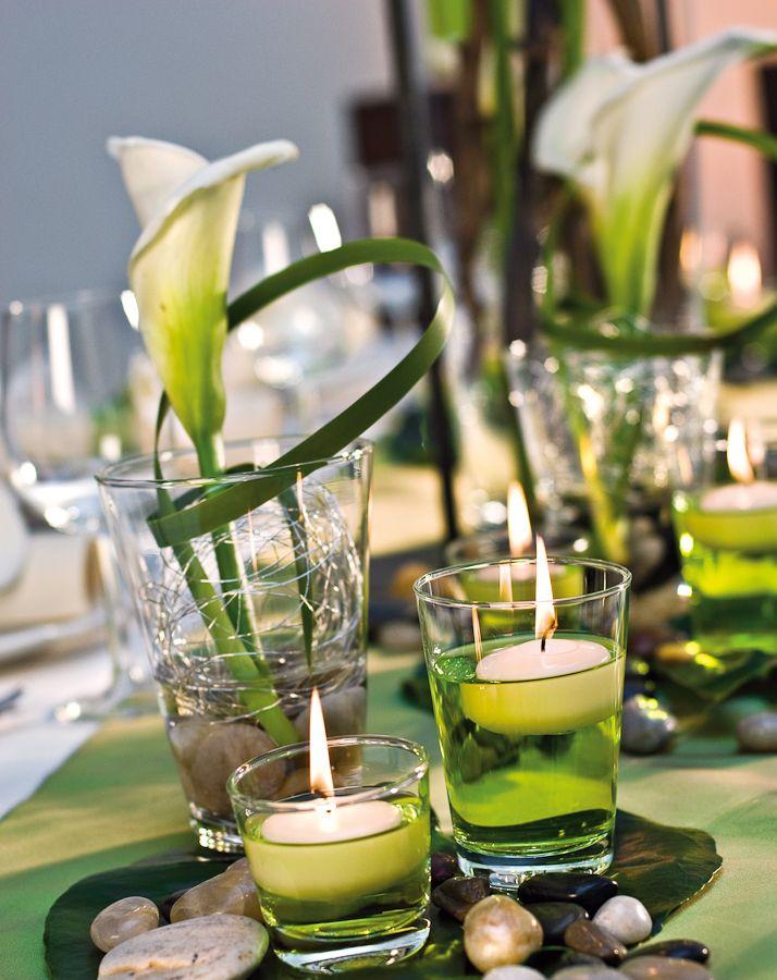 Opulent mit Rosen - Edel und elegant Calla, Tischdeko und Edel - Deko Gartenparty Grun