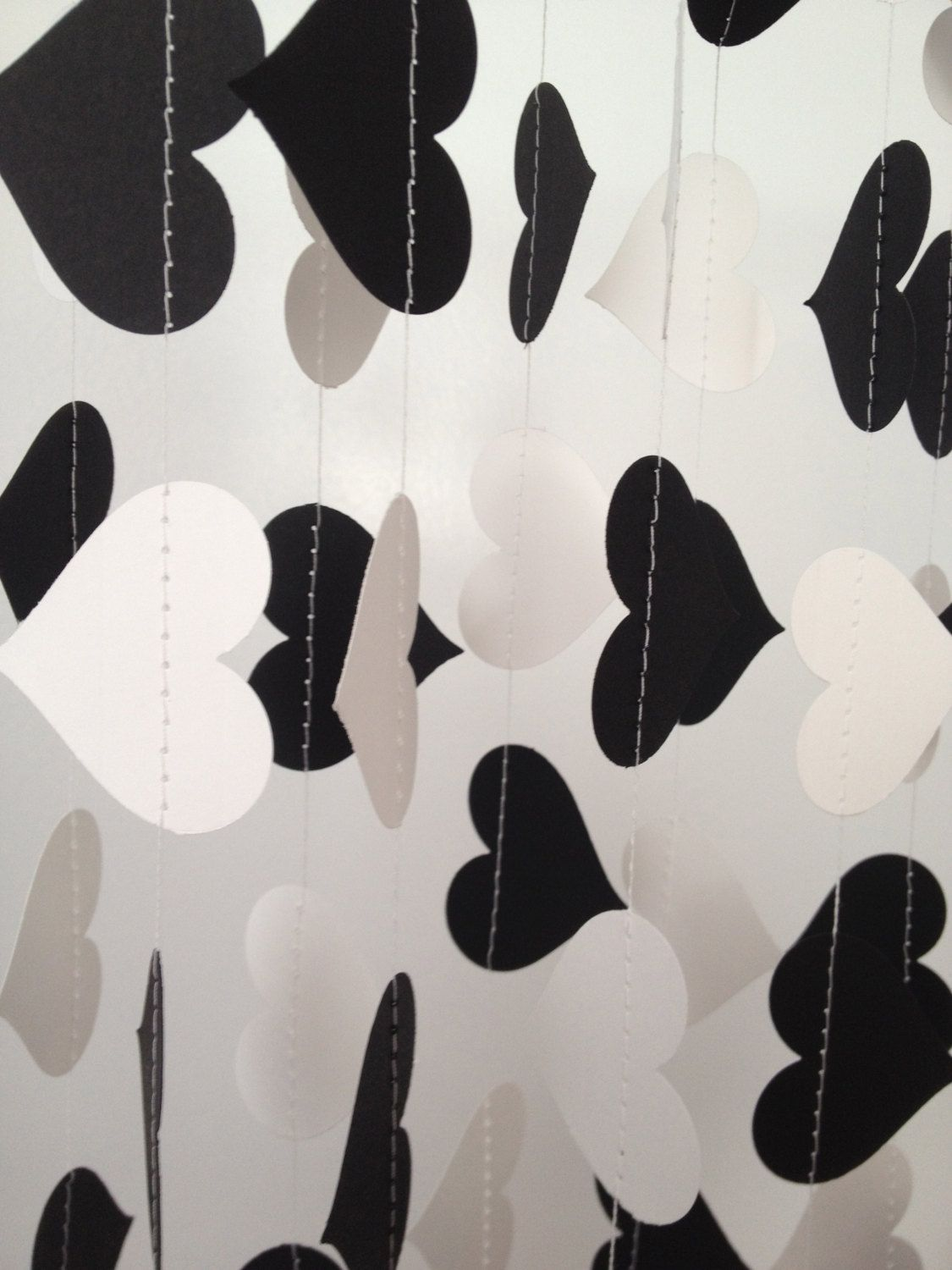 Black and white wedding decor ideas  Black White  ft Heart Paper Garland Party by ChhaysHandiCraft