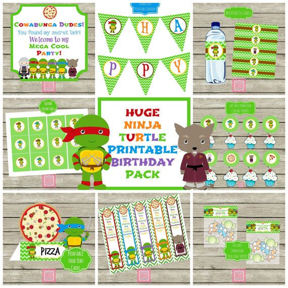 On sale huge ninja turtle birthday party printables package add on on sale huge ninja turtle birthday party printables package add on to invites and save banner filmwisefo Image collections