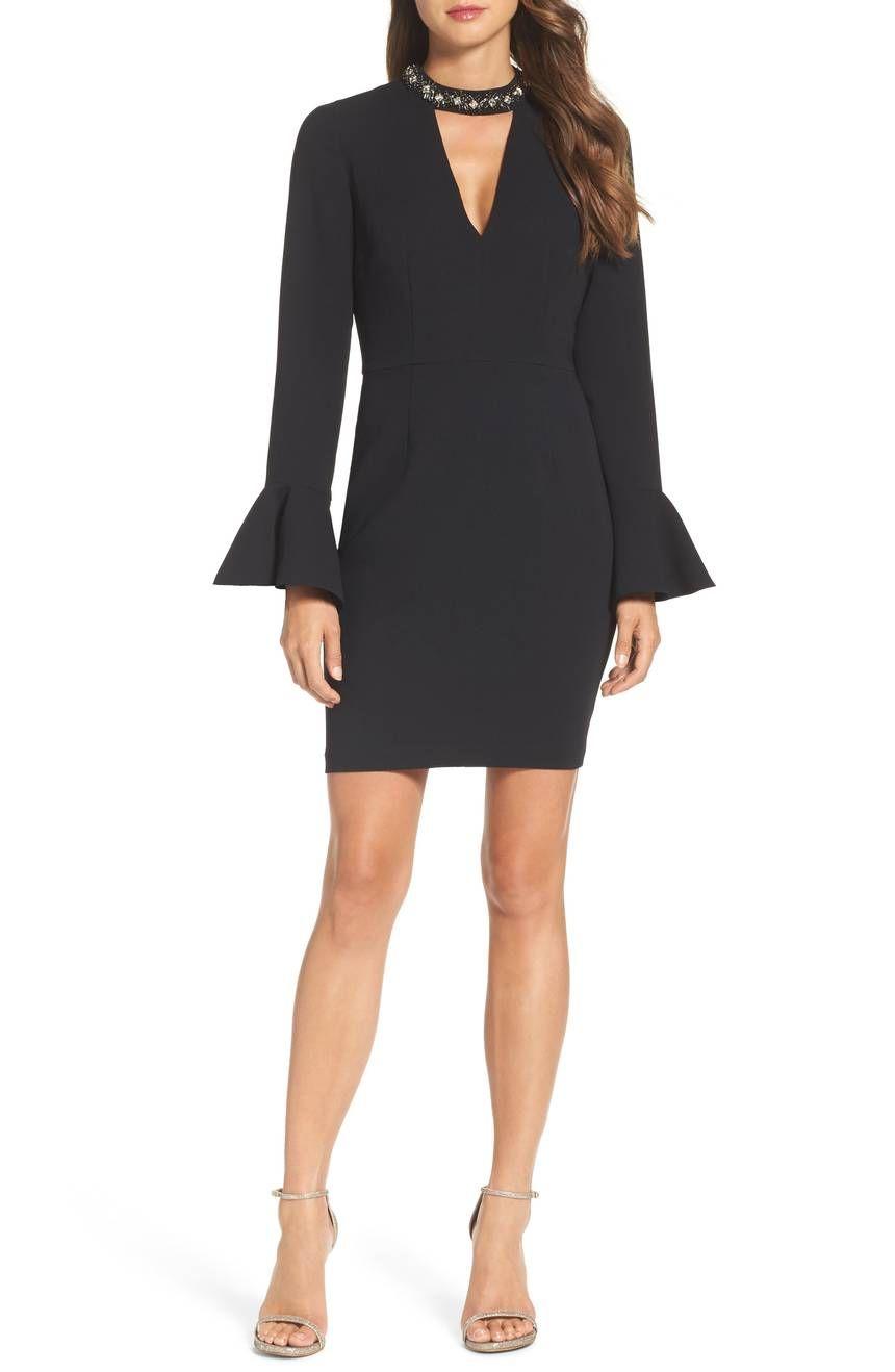Crystal Choker Bell Sleeve Sheath Dress Vince Camuto In Black Today 39 S Fashion Item Fashion Sheath Dress Choker Dress [ 1318 x 860 Pixel ]