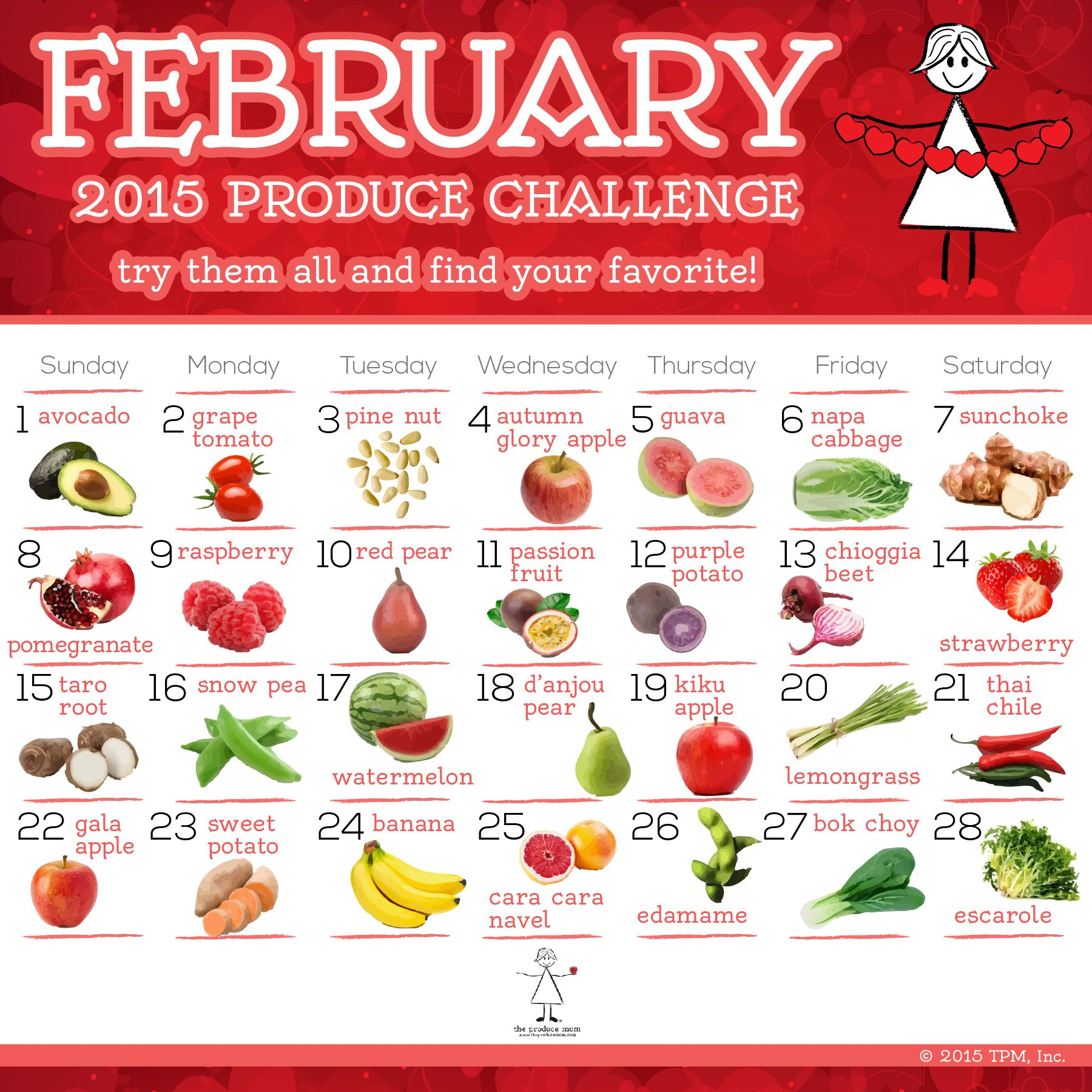 Produce Calendar Challenge Parent Engagement Pinterest