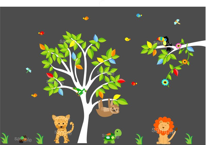 Amazon Rainforest Animals Wall Decal Sticker - S26 Amazon ...